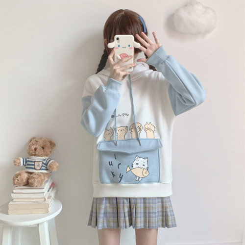 Cute Cat and Fish Soft Warm Fleece Lined Thermal Hoodie