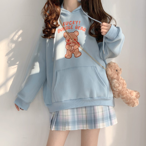 Kawaii Lucky Bear Pattern Blue Soft Hoodie