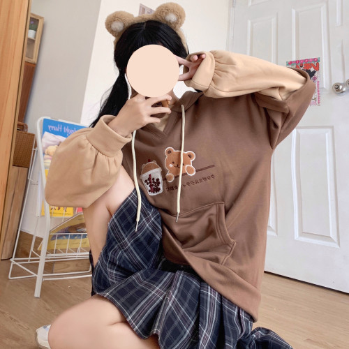 Cute Milk Tea Bear Embroidery Fake Two-piece Hooded Pullover