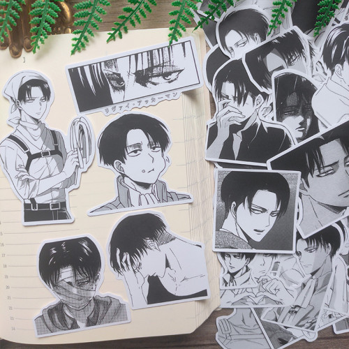 50Pcs Anime Attack on Titan Levi·Ackerman Black and White Decorative Stickers