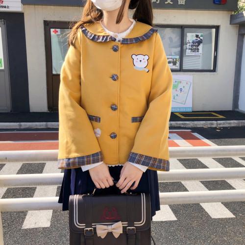 Cute Bear Embroidery Navy Collar Short Woolen Coat