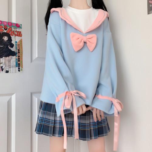 Sweet Girl Lace-collar Bowknot Soft Sweatshirt