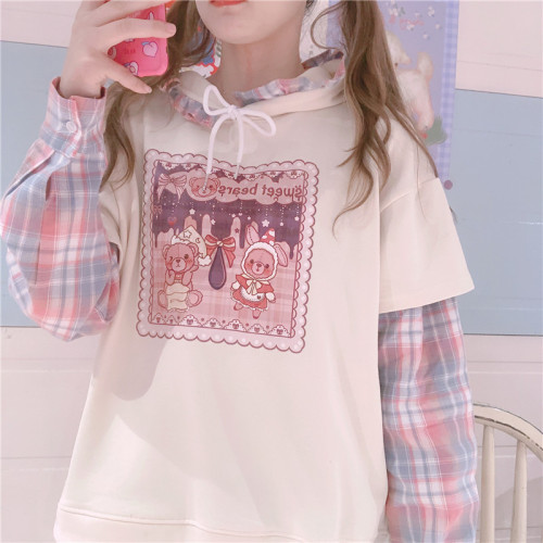 Cute Bear Printed Girl Loose Lace Collar Stitching Fake Two-piece Kawaii Hoodie