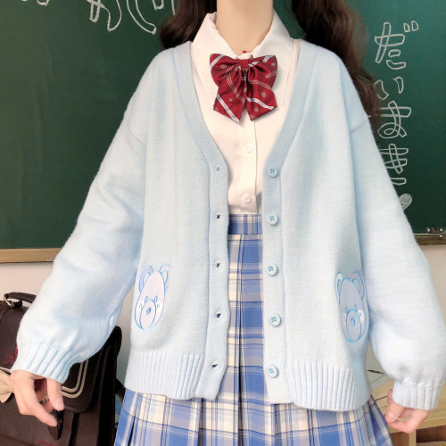 Cute Bear Embroidered Kawaii Girl Knitted Sweater Coat