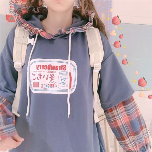 Cute Printed Plaid Soft Winter Hoodie