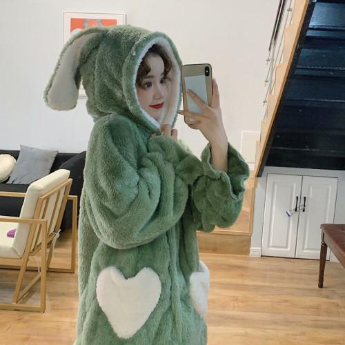 Kawaii Bunny Ears Coral Fleece Plush Warm Cute Pajamas