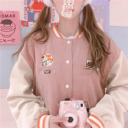 Sweet Girl Color Block Hooded Corduroy Jacket