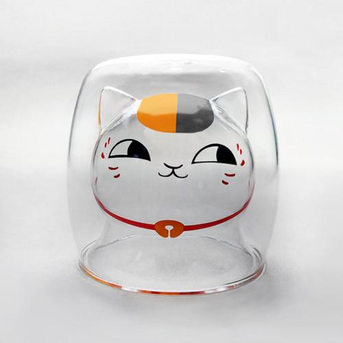 Anime Natsume Yuujinchou Book of Friend Nyanko Sensei Kawaii Mugs Double-Wall Insulate Glass Cups