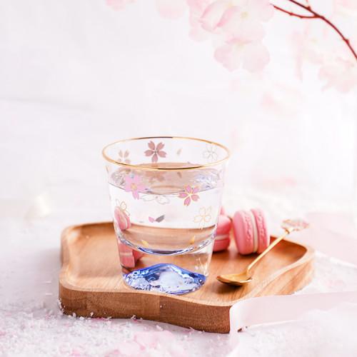 Romantic Cherry Blossom Season Glass Mugs Mount Fuji Spring Sukura Cups