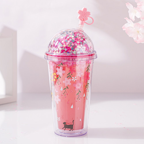 Cherry Blossom Season Double Wall Insulated Kawaii Sakura Cup With Lids And Straws