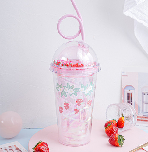 Double Wall Insulated Kawaii Strawberry Cup With Lids And Straws
