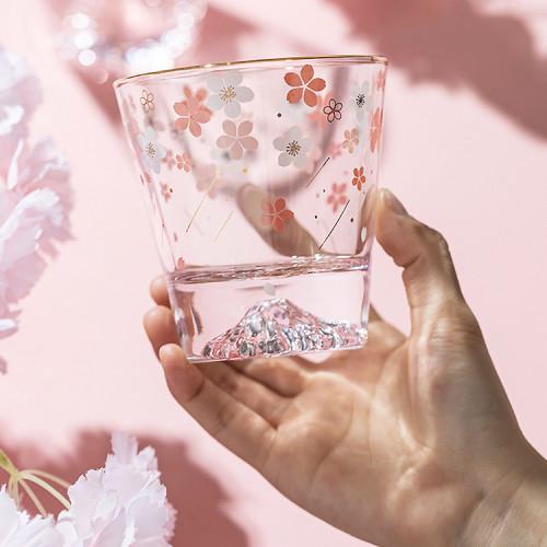 Cherry Blossom Season Mount Fuji Aesthetic Sakura Crystal Glass Mug