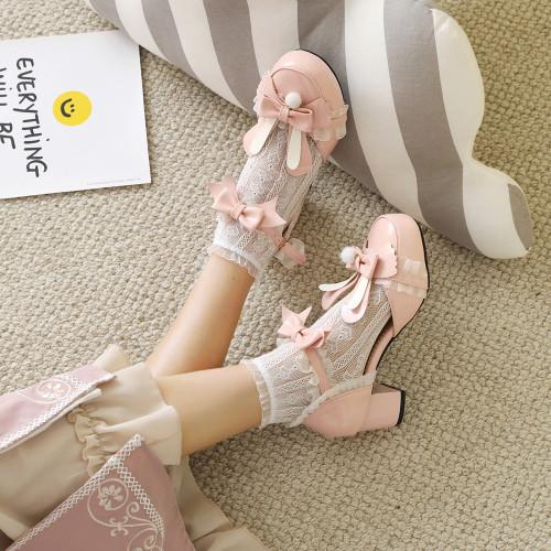 Cute Rabbit Ears Sweet Bowtie Strap Lace Lolita Shoes