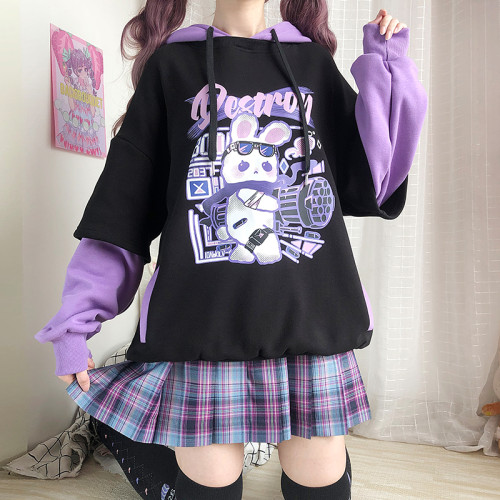 Harajuku Fashion Cute Bunny Shooting Purple Winter Hoodie