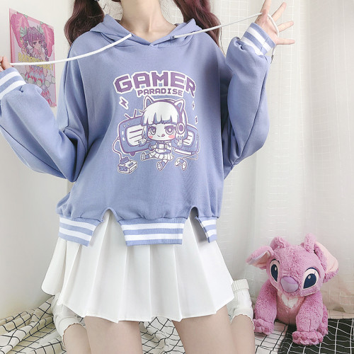 Gamer Paradise Light Purple Winter Short Hoodie