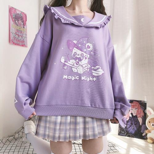Magic Night Kawaii Bear Ruffled Sailor Collar Violet Sweater