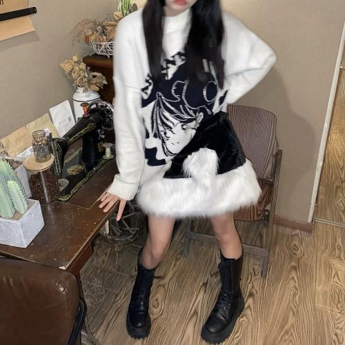 Retro Plush Heart Hot Girl High Waist Pleuche A-line Skirt