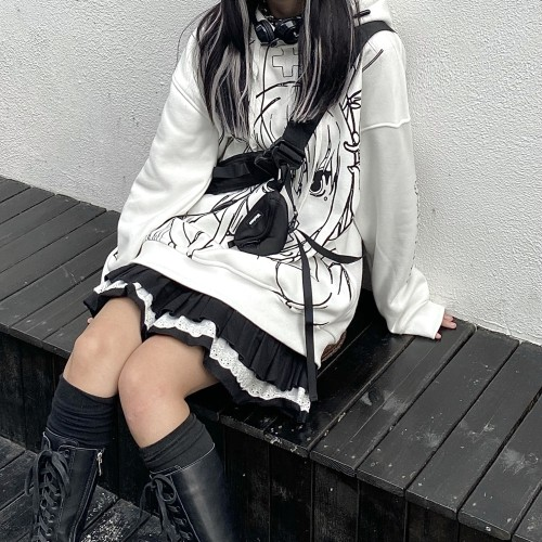 Anime Girl Printed Graffiti Soft Oversized Hoodie