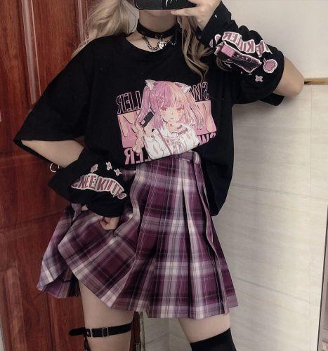 Harajuku Fashion Anime Girl Stitching Long-sleeved T-shirt Top