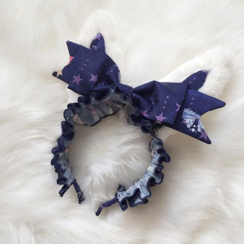 Cute Rabbit Ears Bow Lace Hair Band Handmade Hair Accessory