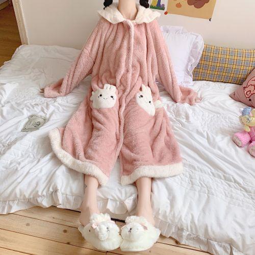 Sweet Girl Kawaii Bunny Ears Plush Soft Pajamas