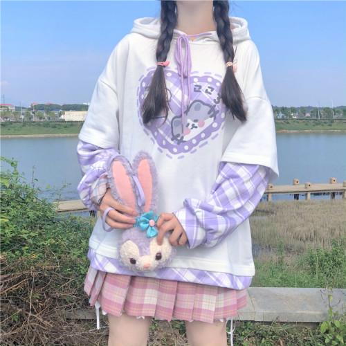 Sweet and Cute Kitten Fake Two-piece Hooded Long-sleeved Loose Pullover