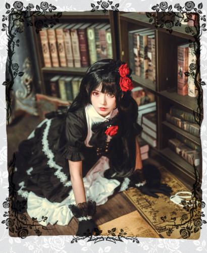 Anime DATE A LIVE Nightmare Tokisaki Kurumi Cosplay Black Dress and Wig