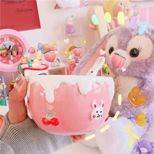 Sweet Embossed Bunny Ceramic Bowl Hand-painted Cherry Rabbit Bowl