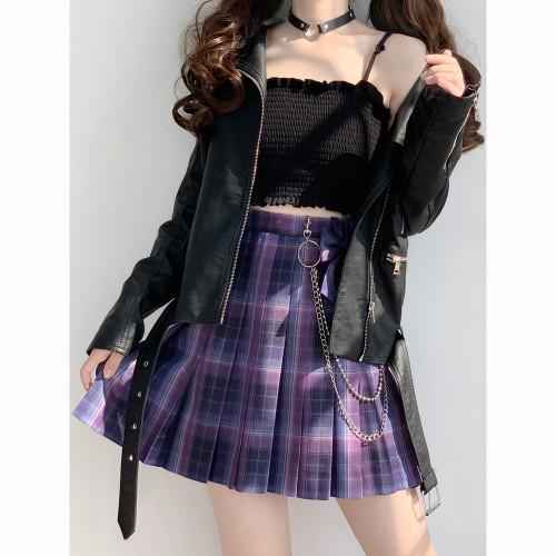 Purple JK School Uniform Plaid Pleated Skirt