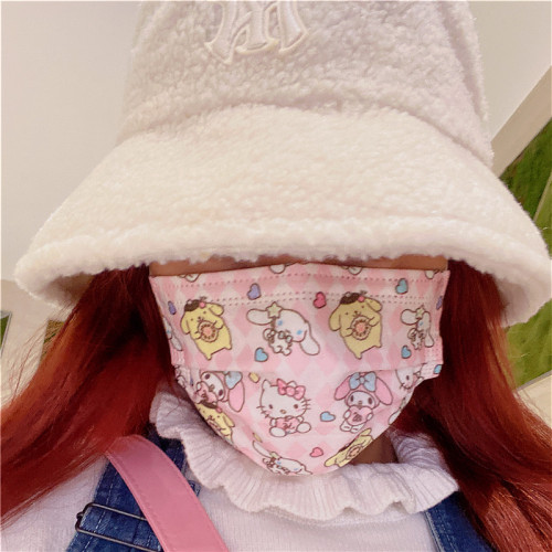 Kawaii Kuromi Cinnamoroll Luna 3-Ply Filter Protection Disposable Face Masks