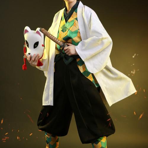 Anime Demon Slayer: Kimetsu No Yaiba Sabito Kimono Cosplay Costume