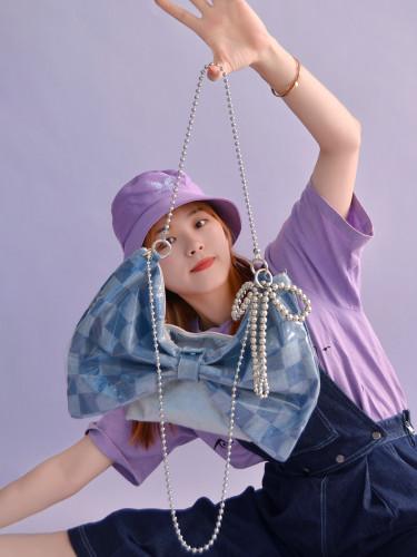 Harajuku Blue or Purple Plaid Bow Handbag Sweet Girl Summer Crossbody Bags