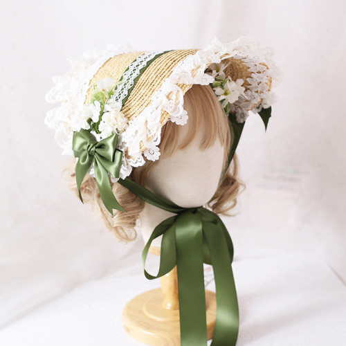 Sweet Lolita Girl Lace Straw Bonnet with Bowknot Cute Strawberry Hat
