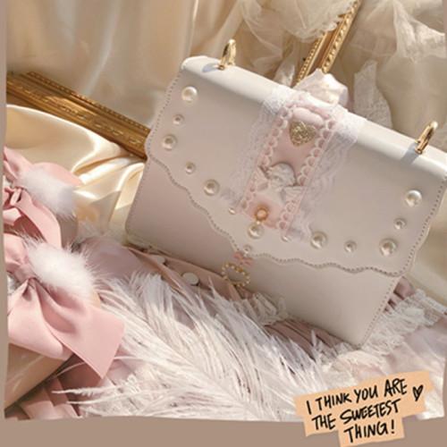 Sweet Angel Pearl Handbags Lolita Lace Crossbody Bags