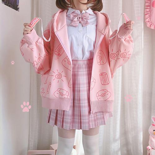 Cute Energetic Piggy Sweet Pink Hoodie