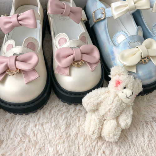 Sweet Cute Bear Bowknot Strap Lolita Shoes