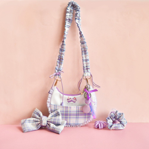 Cute Purple Plaid Cake Cloud Wrinkle Tote Lace Handbags with Macaron Pendant