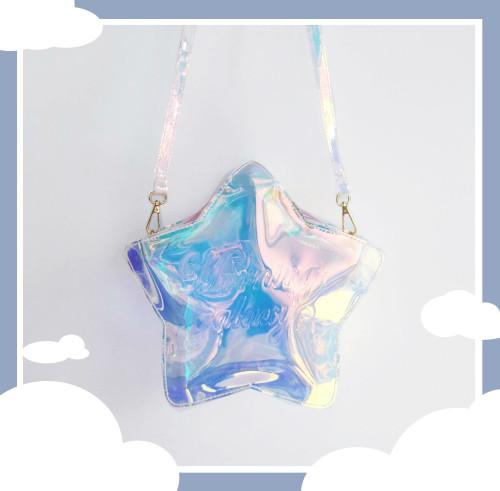 Star Moon and Cloud Shape Handbag Laser Crossbody Bag