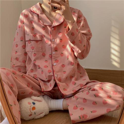 Sweet Strawberry Printed Long Sleeve Pajamas