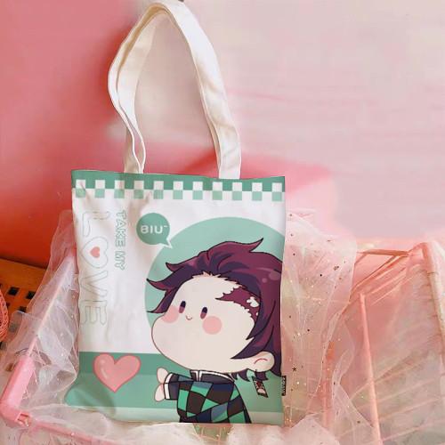 Anime Demon Slayer: Kimetsu No Yaiba Tanjirou Inosuke Nezuko Zenitsu Canvas Bag Shoulder Bag