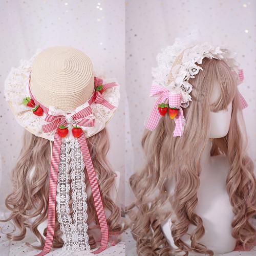 Sweet Girl Strawberry Lace Plaid Lolita Hairband Soft Girl KC Hair Clip Straw Hat Lolita Accessory