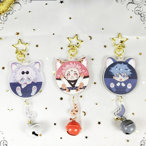 Anime Jujutsu Kaisen Gojo Satoru Yuji Itadori Fushiguro Megumi Ryomensukuna Star Keychain with Little Bell