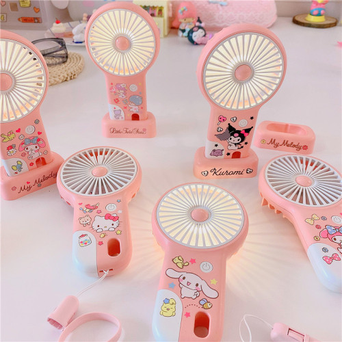 Cute Cartoon Melody Little Twin Stars Kuromi Cinnamoroll Portable Fan with USB Charging and Nightlight