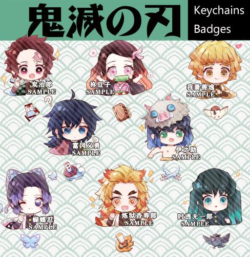 Anime Demon Slayer: Kimetsu No Yaiba Tanjirou Nezuko Zenitsu Acrylic Keychain Pendants Badges
