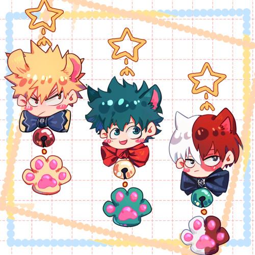 Anime My Hero Academia Bakugou Katsuki Todoroki Shoto Midoriya Izuku Cute Cat Paw Keychain Pendants