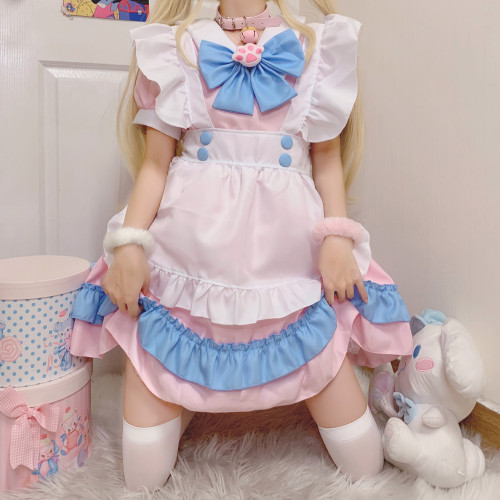 Cute Cat Pink and Blue Lace Apron Cat Paw Lolita Dress Cosplay Costume with Choker Collar