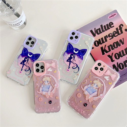 Anime Sailor Moon Purple and Pink Cute Phone Cases for iPhone Protective Cover