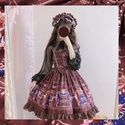 Sweet Lolita JSK Dress Masquerade Printed Bows Ruffles Burgundy Lolita Jumper Skirts