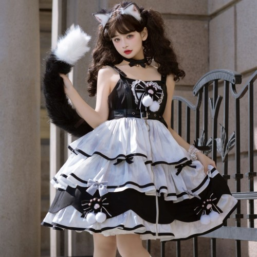 Harajuku Cat Paw Black and White Sweet Lolita Layered Dress JSK