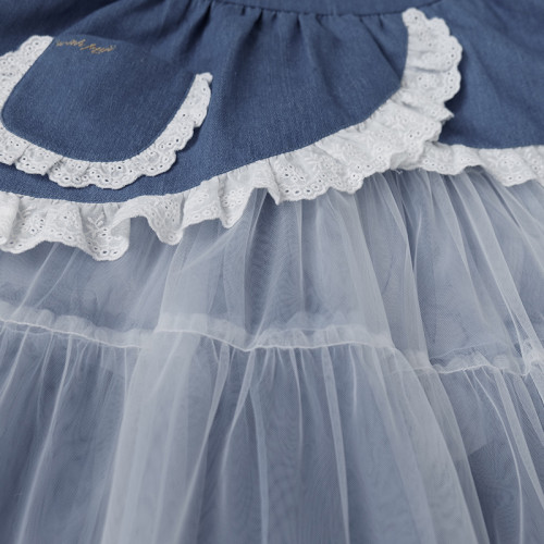 Sweet Lolita Outfits Blue Lace Ruffles Bows Lace Sleeveless Top and Tulle Skirt 2 Piece Set